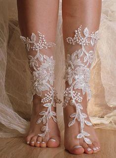 Unique Lace sandals ivory Beach wedding barefoot sandals,hand-embroidered barefoot sandals