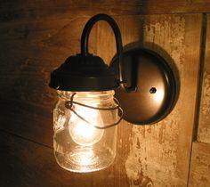 EXTERIOR Vintage Canning Jar SCONCE Created New. $59.00, via Etsy. x 2 Upstairs bathroom.