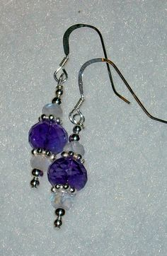 925 Sterling silver Amethyst Moonstone dangle by dsmenagerie, $18.00