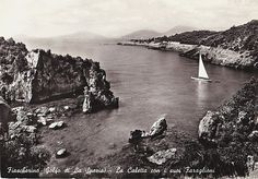 Mid Century Travel Photo Postcard Fiascherino Italy Golfe de la Spezia Sailboat