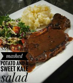 Steak Sweet Kale Salad, Cheesy Mashed Potatoes, Steak, Food And Drink, Beef, Steaks, Ox