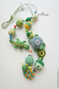 """Слингобусы ручной работы. Ярмарка Мастеров - ручная работа. Купить Слингобусы """"Green"""". Handmade. Зелёный, улитка, бусины деревянные, фиксатор"""