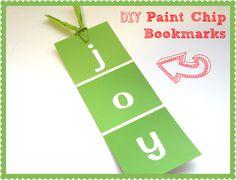 Classroom DIY: DIY Paint Chip Bookmarks  http://www.classroomdiy.com/2012/11/diy-paint-chip-bookmarks.html