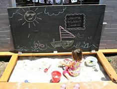 Use chalkboard paint on treated wood for a diy Sandbox Cover. I like this idea Build A Sandbox, Sandbox Sand, Kids Sandbox, Sandbox Ideas, Kids Outdoor Play, Backyard For Kids, Diy For Kids, Outdoor Fun, Outdoor Projects