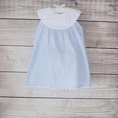 Blue Seersucker Dress with White Yoke, Smockadot Kids, $22