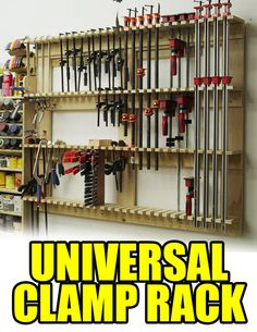 A universal clamp rack design to hold multiple sizes and kinds of clamps.