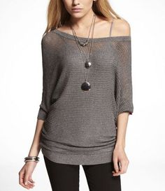 LUREX MESH DOLMAN SWEATER at Express.. I have a bunch of these with the tanks underneath!! LOVE!