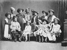 Shivaji IV, Raja of Kolhapur (1863-83) and his suite : Prince of Wales Tour of India 1875-6.