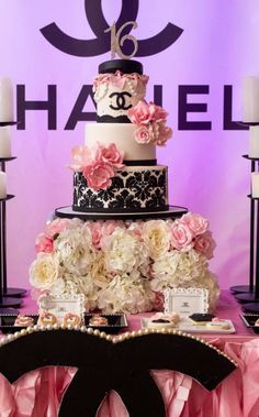 Ck Creation By Chuly 's Birthday / Chanel - Photo Gallery at Catch My Party Quinceanera Decorations, Quinceanera Party, Birthday Decorations, Sweet 16 Birthday, 15th Birthday, Birthday Parties, Chanel Birthday Party, Chanel Party, Chanel Cake