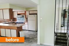 Great inspiration for removing cabinets over kitchen peninsula! Before & After:  Kari's Modern Kitchen Makeover