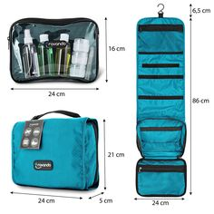 Travando ® 3in1 Hanging Toiletry Bag with Detachable Wash Bag + 7 Containers  for Liquids  002bd49c33569