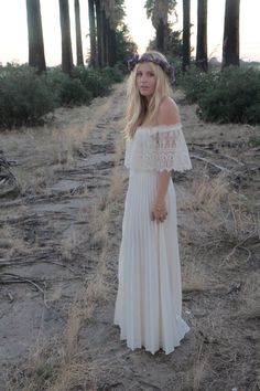 Vintage Wedding Gown Dress Bohemian Lace Off The Shoulder Cream Ivory White - Celine. $750.00, via Etsy.--reminds me of your Mother's dress
