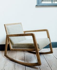 Roxie from Olive & the Fox,   Unique oak framed lounger style rocking chair for a cool laid back vibe. Dimensions w:57cm x d:70cm x h: 70cm  Seat Height 42cm