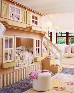 25 Cute Girls Room Ideas - Style Estate - What little girl wouldn't love to sleep in her own little play house!?!?!? Too stinkin cute!