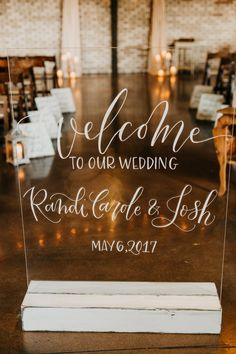 Acrylic Welcome to our Wedding sign for Cermony.  Sign & Calligraphy by My Lettered Affair  Wedding Day Photography  Caitlin Steva Photography
