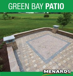 Create a welcoming outdoor entertaining area in your backyard with this attractive, long-lasting concrete paver block patio. The block wall features soft curved corners and pillars topped with glass block that could be used to light the area on those fall evenings. Paver Blocks, Landscape Materials, Concrete Pavers, Block Wall, Glass Blocks, Outdoor Entertaining, Building Materials, Green Bay, Backyard