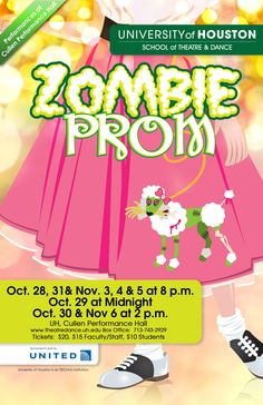 Doo Wop Meets the Living Dead in University of Houston Production of 'Zombie Prom' Zombie Party Decorations, Zombie Prom, University Of Houston, Faculty And Staff, Theatre, Musicals, Design Inspiration, Theatres, Theater