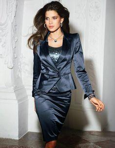 Blue Satin Skirt Suit