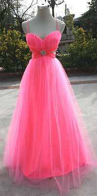 NWT MASQUERADE $180 Neon Coral Party Prom Ball Gown 7