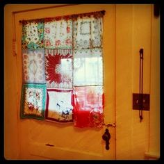 vintage hankie curtain