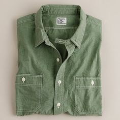 Green Chambray Shirt.