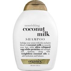 Discover the lush tropical goodness of OGX Nourishing Coconut Milk Shampoo, a specially formulated blend of hair-nourishing organic coconut milk, elasticity-infusing whipped egg white proteins and hydrating coconut oils to leave your hair touchably soft, Organix Shampoo, Sulfate Free Shampoo, Moisturizing Shampoo, Nourishing Shampoo, Coconut Shampoo, Coconut Milk Shampoo, Organic Coconut Milk, Coconut Oil, Shampooing Sans Sulfate