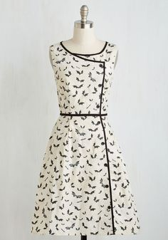 Bat's the Spirit! Dress - White, Black, Print with Animals, Print, Daytime Party, Halloween, Quirky, Critters, A-line, Sleeveless, Woven, Better, Long