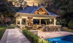 Amazing Outdoor Design Ideas with a Gazebo And Cabana – Outdoor And Patio Ideas, Designs and DIY Plans. Backyard Pavilion, Backyard Patio Designs, Pool Gazebo, Pergola Roof, Backyard Kitchen, Outdoor Kitchen Design, Outdoor Rooms, Outdoor Living, Outdoor Kitchens