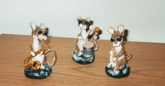 3 Blind Jazz Mice - polymer clay.  Sculpted by Susan Nordella