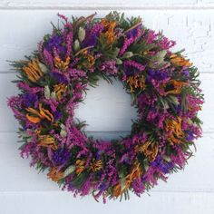 Purple, Yellow and Pink Dried Flower Wreath by NaturDesign on Etsy https://www.etsy.com/listing/179422225/purple-yellow-and-pink-dried-flower