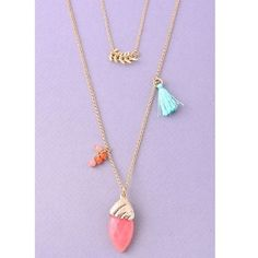 """Coral Stone Tassel Necklace Coral Stone Tassel Layer Necklace in gold. 30"""" length. Jewelry Necklaces"""