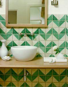 herringbone tile bathroom, shot by david tsay, styled by emily henderson