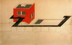 Farkas Molnar, project for a single-family house Der rote Wiirfel (The red cube) Presentation drawing Ink and gouache on board, 59 x Bauhaus Colors, Bauhaus Design, Oblique Drawing, Herbert Bayer, Ludwig Mies Van Der Rohe, Drawing Projects, Building Structure, Children Images, De Stijl