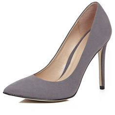 River Island Dark grey leather court heels (2 840 UAH) ❤ liked on Polyvore featuring shoes, pumps, heels, grey, shoes / boots, women, high heel pumps, leather pumps, grey leather pumps and high heel shoes