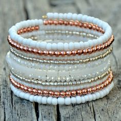This stunning wrap bracelet is made of a beautiful mix of beads as photographed. Strung on memory wire. Memory Wire Jewelry, Memory Wire Bracelets, Gemstone Bracelets, Bracelet Clasps, Fall Jewelry, Beaded Jewelry, Handmade Jewelry, Jewelry Necklaces, Cute Friendship Bracelets