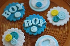 Baby shower fondant topper - cute as a button fondant toppers by Les Pop Sweets on Gourmly