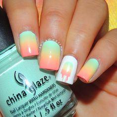 Nail Art Tutorial: Popsicle Nails, I like this color combo Gel Nail Designs, Simple Nail Designs, Nails Design, Cute Nails, Pretty Nails, Ice Cream Nails, Geometric Nail Art, Fabulous Nails, Stylish Nails