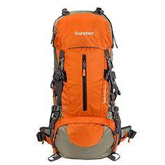 Suretex Waterproof Outdoor Sport Hiking Trekking Camping Travel Backpack Pack Mountaineering Climbing Knapsack with Rain Cover (Orange, Backpacking Hammock, Camping And Hiking, Hiking Gear, Camping Gear, Camping Hammock, Best Travel Backpack, Backpack Camping, Travel Bags, Waterproof Hiking Backpack