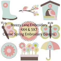 Classic Spring Digital Machine Embroidery Design Set 4X4 & 5X7 - Breezy Lane Embroidery