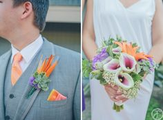 dana + jared // marina village, sunset room // san diego wedding photographers // purple and orange bouquet and boutineers