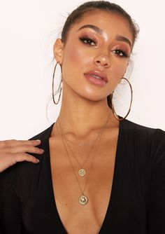 9b46ee19a26e Missyempire - Sam Gold Double Coin Layer Necklace Layer Necklace