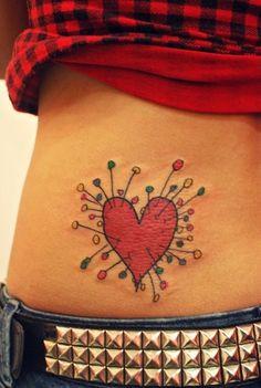 Push pin heart by Tim Burton tattoo <3
