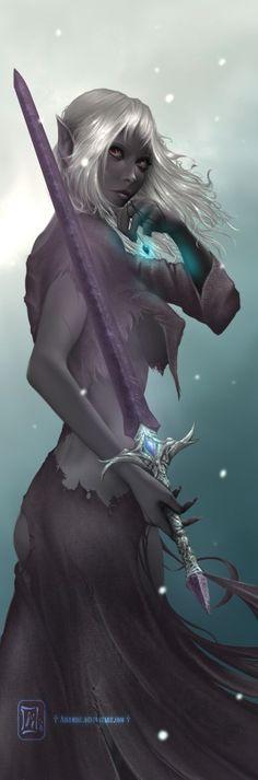 drow, mage, sword, pendant, elf