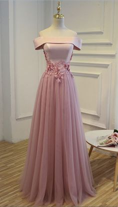 Dusty Rose off-the-shoulder prom dress #gowns #prom