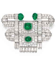 Platinum, Emerald and Diamond Brooch, Van Cleef & Arpels, France, 1927. Of articulated geometric design, set with two round emerald beads and two cabochon emeralds weighing approximately 11.75 carats, accented by numerous old European and single-cut diamonds weighing approximately 8.45 carats and numerous baguette diamonds weighing approximately 7.95 carats, signed VCA, France, with French assay marks.