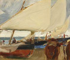 """ Joaquín Sorolla y Bastida (Spain 1863-1923) Spanish Playa de Valencia (1910) oil on canvas 48 x 56 cm """
