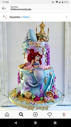 Little Mermaid cake # Little Mermaid Cakes, Mermaid Birthday Cakes, Little Mermaid Birthday, Little Mermaid Parties, Disney Birthday, Birthday Cake Girls, The Little Mermaid, Disney Princess Birthday Cakes, Sirenita Cake