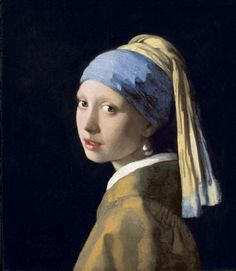 Painting of a bust-length woman looking over her shoulder and wearing a headdress and a large pearl earring.