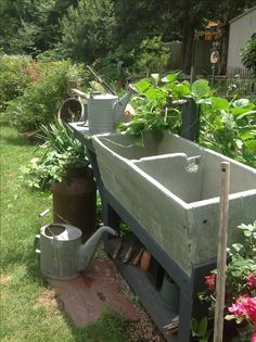 Old soapstone sink...handy to garden for potting and watering