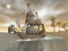 Pirate ship floating on the ocean leaving an island with palm trees by night Boat Art, Titanic, Sailing Ships, Palm Trees, Pirates, Fine Art America, Digital Art, Ocean, Island